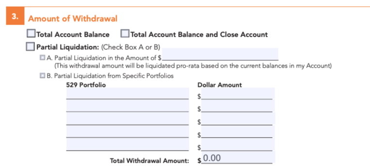 529 plan withdrawal form